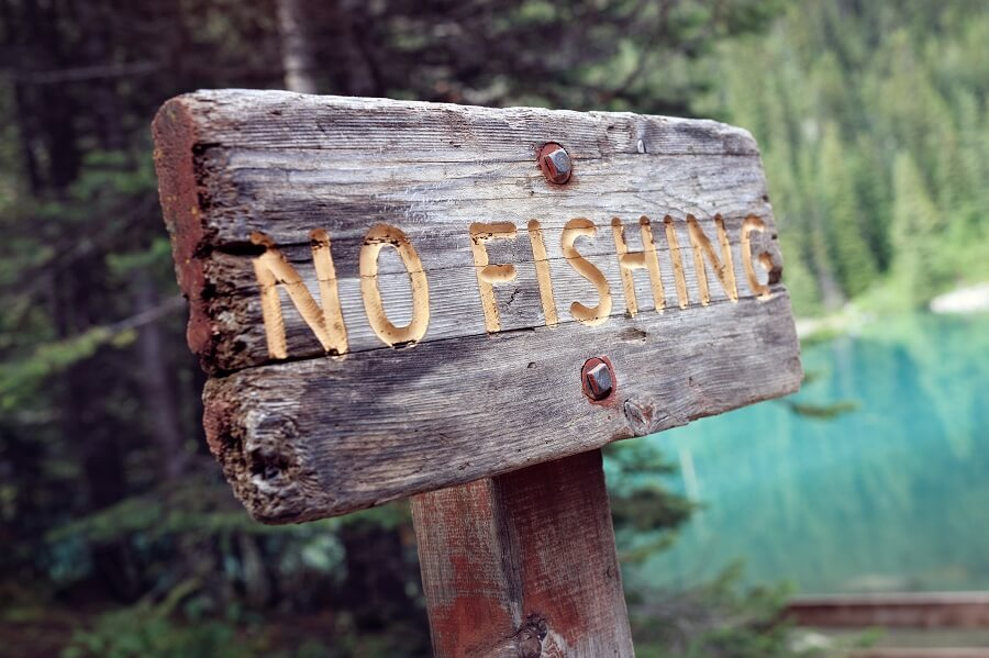 no fishing wooden sign