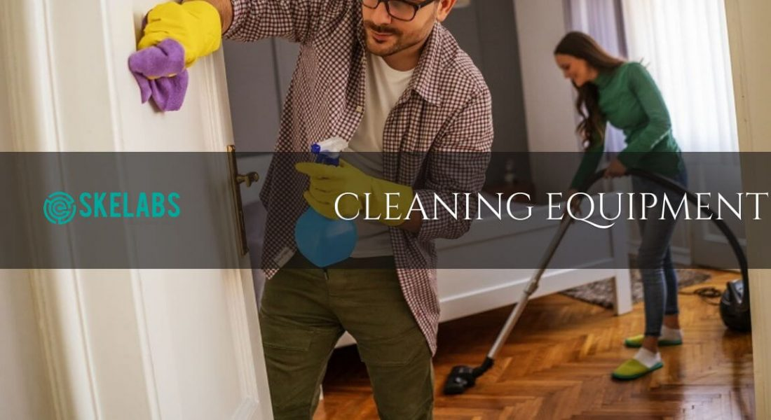 Couple cleaning their home with cleaning equipment